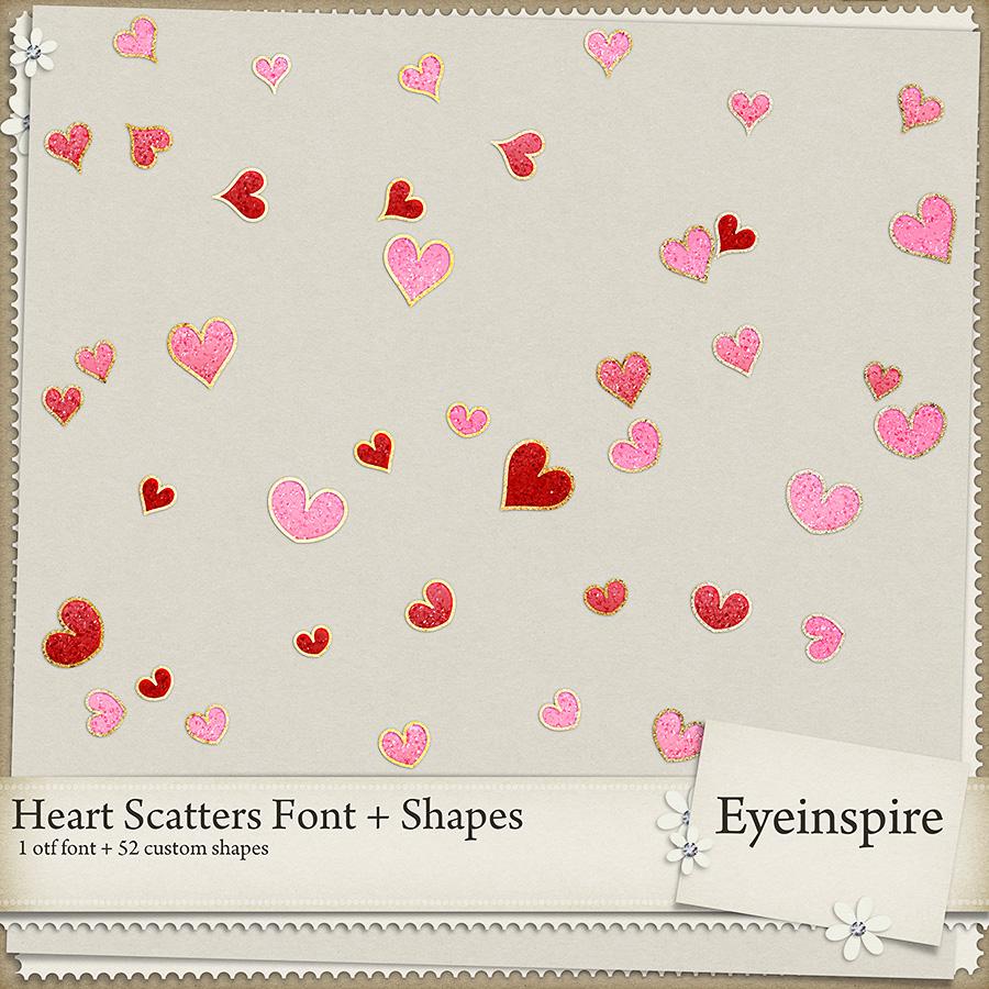 Heart Scatter Font & Shapes