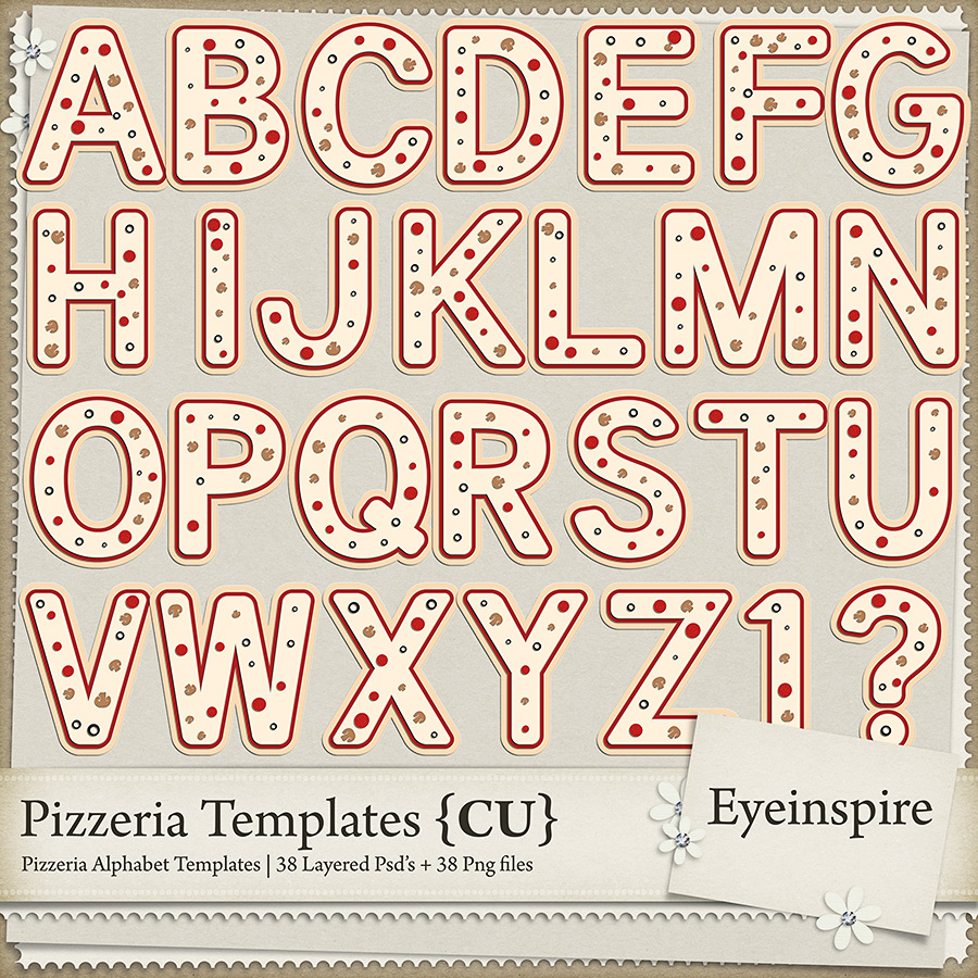 Pizzeria Alphabet Templates