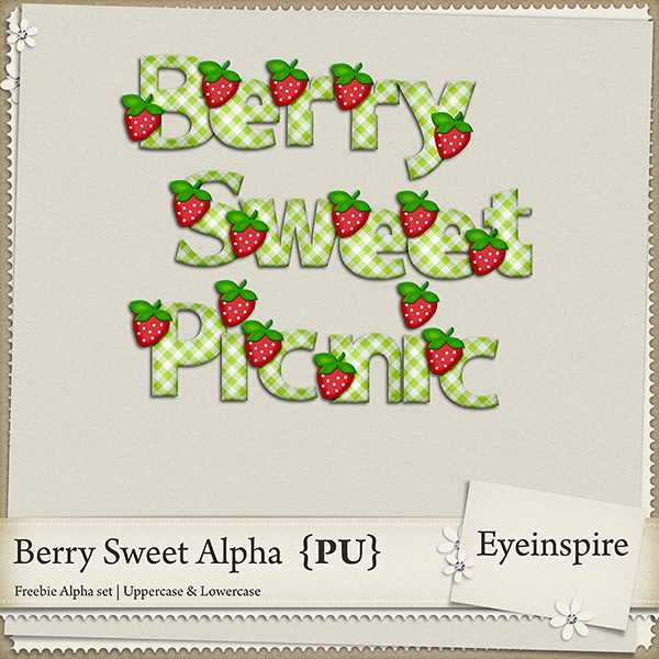"Free digital scrapbook alpha ""Sooo Berry Sweet"" from Eyeinspire"