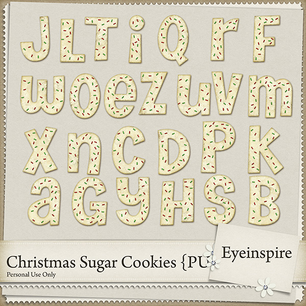 "Free digital scrapbook alpha ""Christmas Sugar Cookies"" from Eyeinspire"