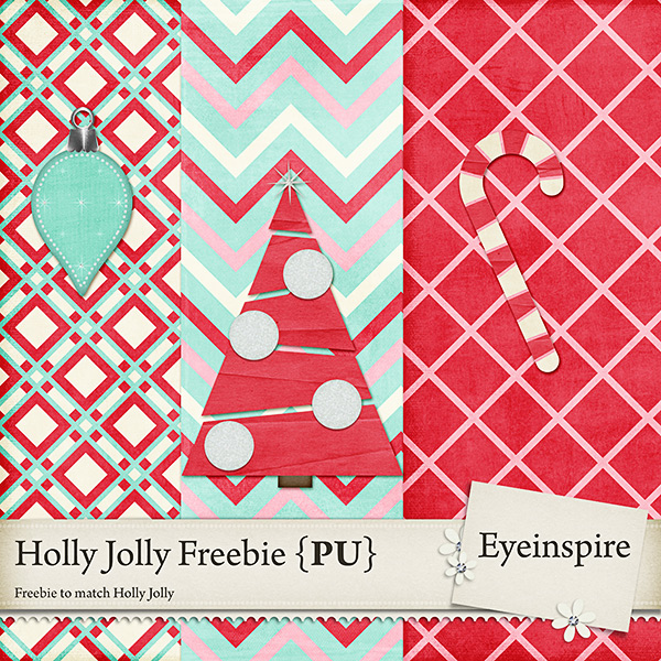 "Free digital scrapbook kit ""Holly Jolly"" from Eyeinspire"