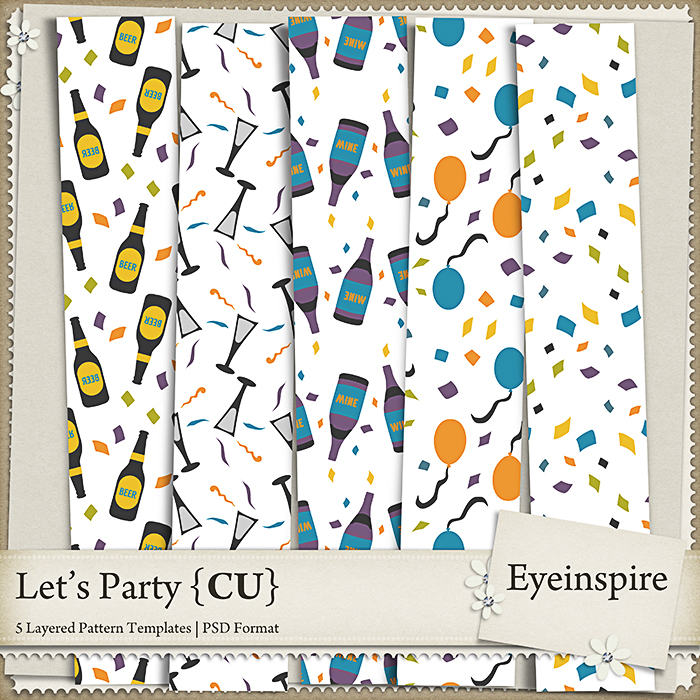 Free scrapbook patterns Let's Party by from Eyeinspire {CU}
