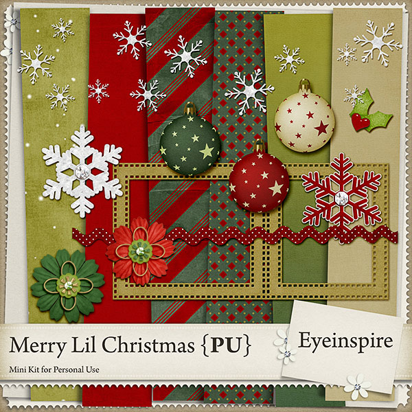 "Free digital scrapbook kit ""Merry Lil Christmas"" from Eyeinspire"