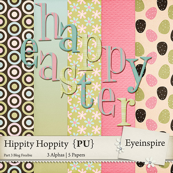 "Free digital scrapbook mini kit ""Happy Easter"" from Eyeinspire"