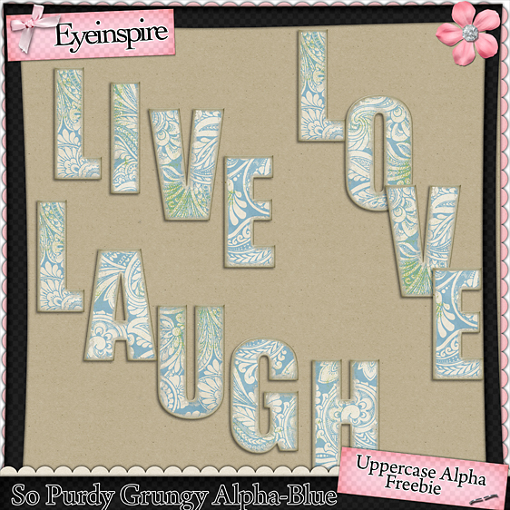 "Free digital scrapbook alpha ""Oh So Purdy"" from Eyeinspire"