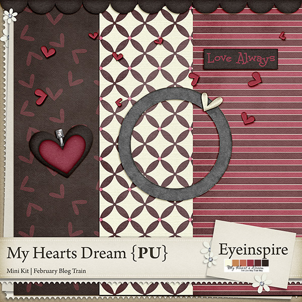 "Free digital scrapbook mini kit ""My hearts dream"" from Eyeinspire"