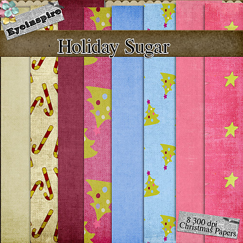 "Free digital scrapbook papers ""Holiday Shugar"" from Eyeinspire"