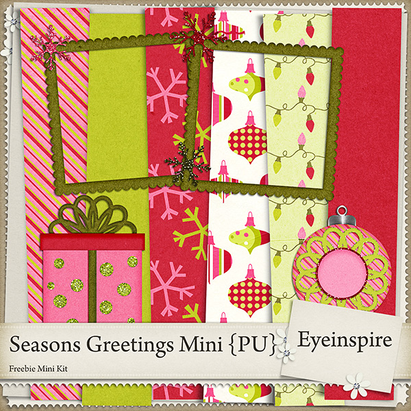 "Free digital scrapbook mini kit ""Seasons Greetings"" from Eyeinspire"