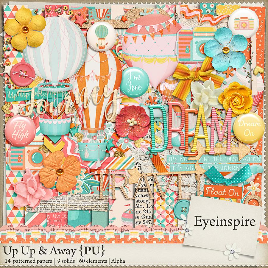 up up & Away digital scrapbooking kit, digital scrapbooking eye inspire, sale, hot air balloon, dream, journey, travel, dream , camera,