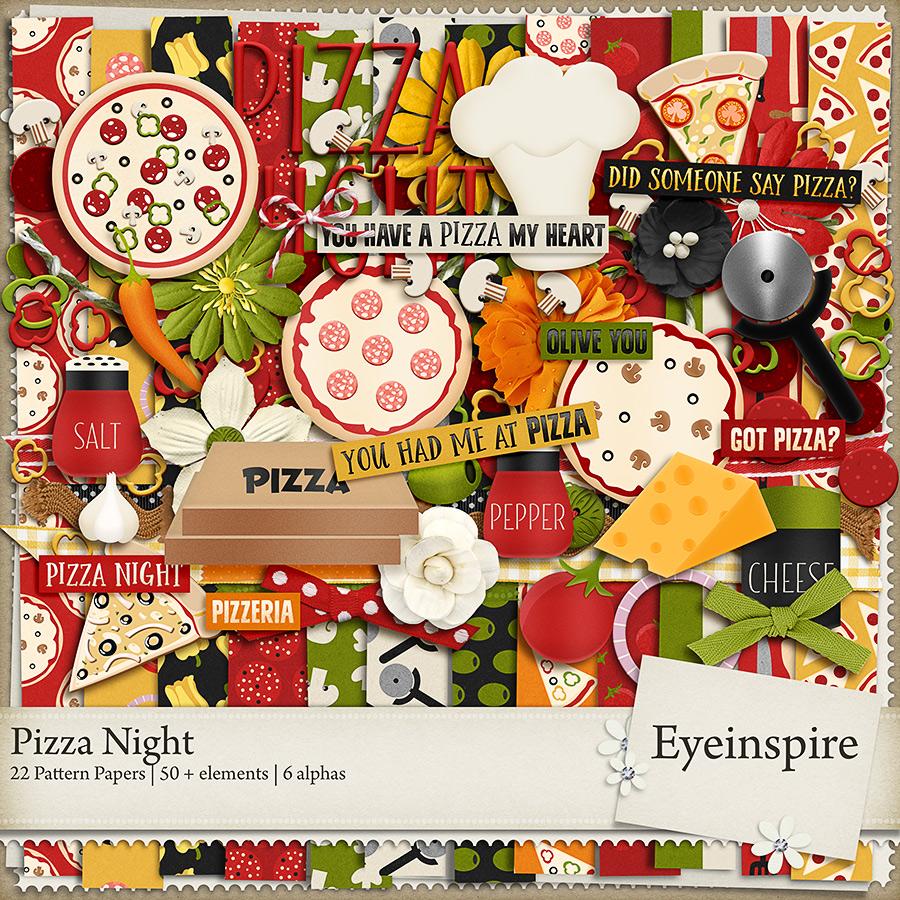 Pizza Night digital scrapbooking kit