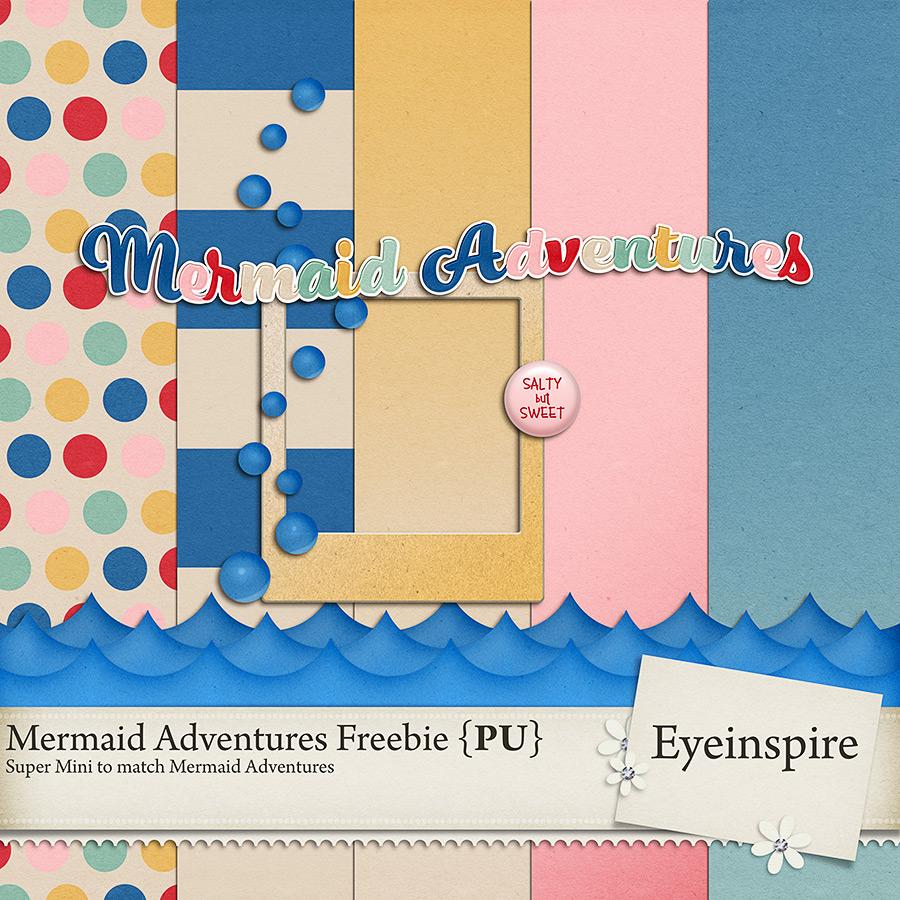 mermaid adventures digital scrapbooking kit freebie